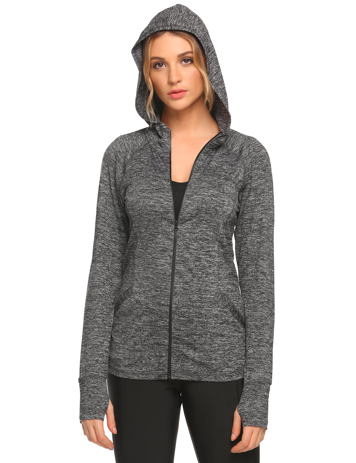 granate Women's Running Sports Jackets Full-Zip Hoodie Coat with Thumb Hole