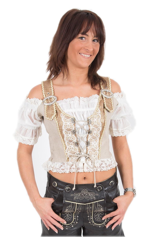 Trachten Mieder braun mit Bluse im Carmenstil