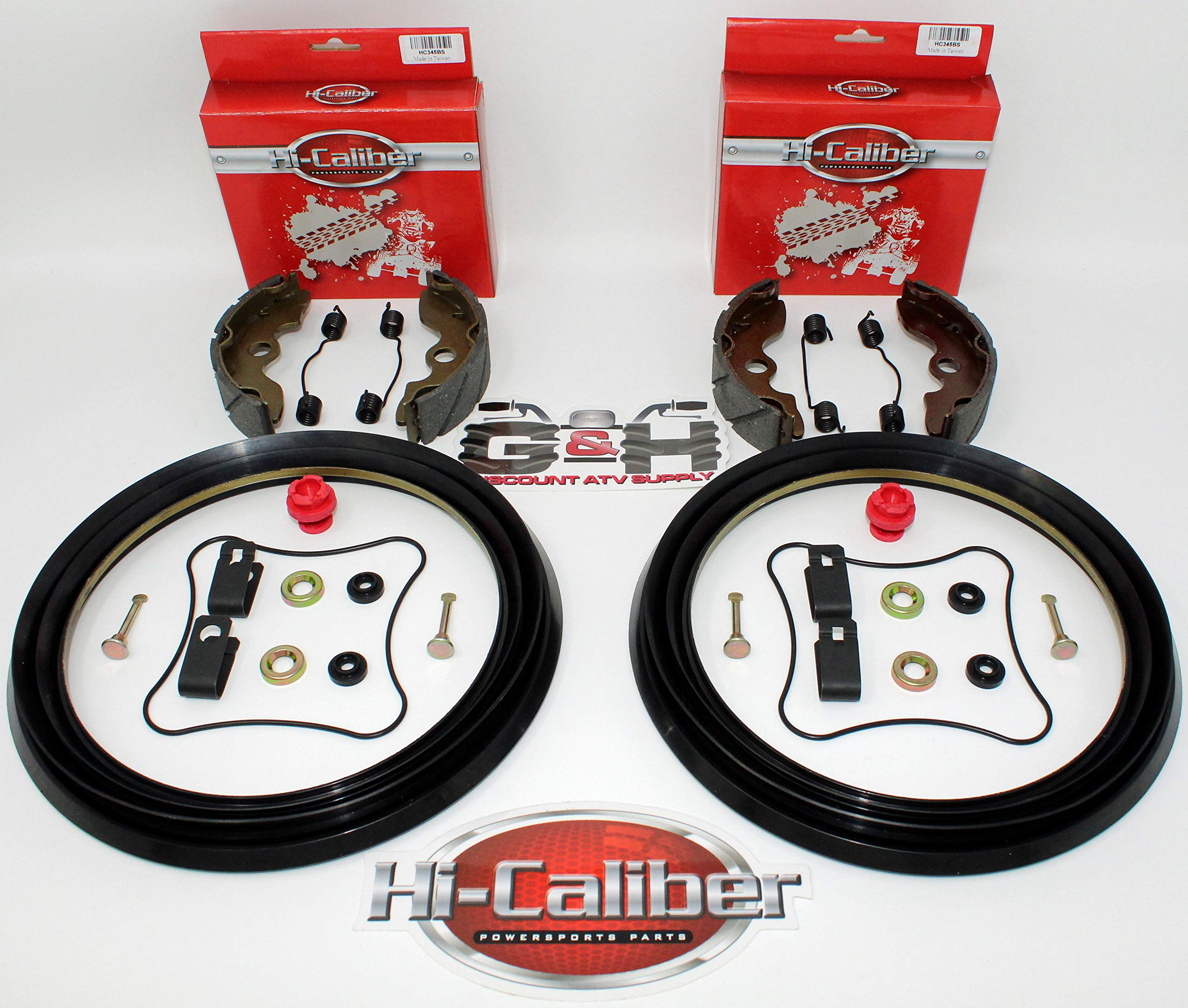 Full FRONT Brake Rebuild KIT (Includes Water Grooved Shoes, Springs & Hardware) for 1993-2000 Honda TRX 300 2x4 ONLY