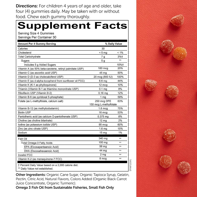 SmartyPants Kids Formula Daily Gummy Vitamins: Gluten Free, Multivitamin &  Omega 3 Fish Oil (DHA/EPA), Methyl B12, Vitamin D3, Vitamin B6, 120 Count