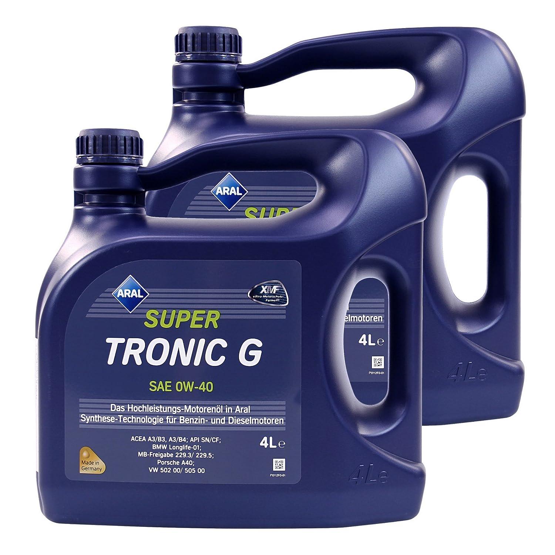 2 x 4 L=8 litros Aral supertronic g 0 W-40 Aceite de motor Motores de aceite; Especificaciones/freigaben: Acea A3/B3, A3/B4; API SN/CF; BMW Longlife - 01; ...
