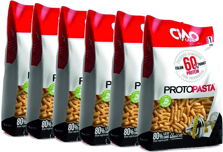 Pasta Proteica Sedani Maccheroni 6 paquetes (6 x 250 gr) Muy alto contenido de proteínas (60%) Ciao Carb