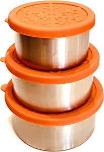Snackerdoos Large 3-piece Stainless Steel Food Containers with BPA-free Silicone Lids for sandwiches, salads, and snacks for on-the-go families, professionals, and adventurers.
