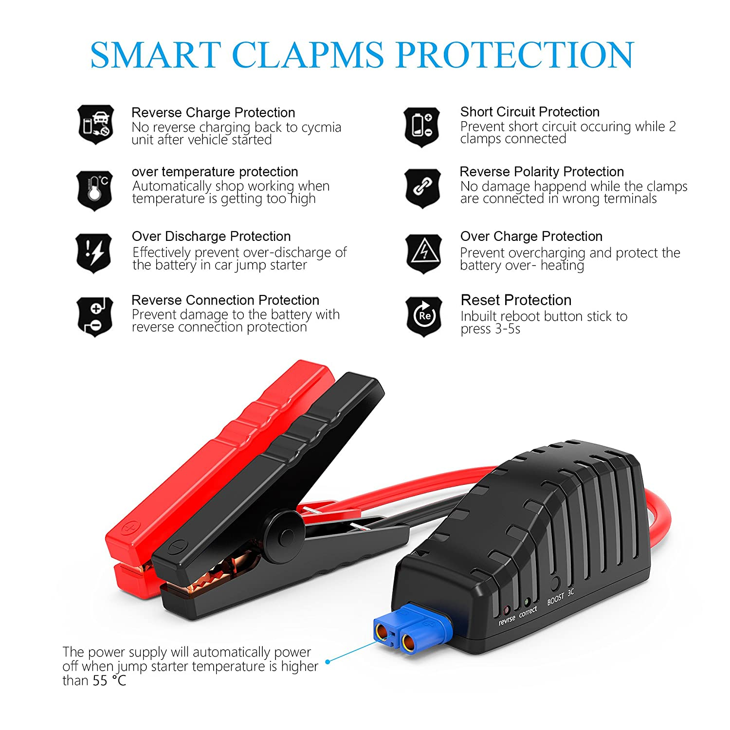 Cycmia 800a Peak Portable Car Jump Starter With Usb Type C 5v 3a Battery Cable Diagram A Charger Reverses Port Up To 72l Gas 55l Diesel Engine Booster And Phone Smart