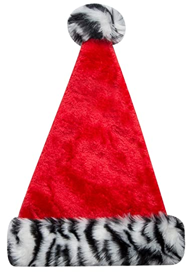 f46c3a6dc7b6a Image Unavailable. Image not available for. Color  Christmas Zebra Print Santa  Hat