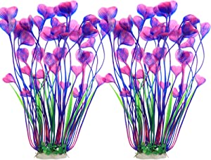 JIH Plastic Plants for Aquarium,Tall Artificial Plants for Fish Tank Decor 15.6 Inch (2 Pcs)