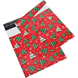Mtlee 10 by 13 Inch Christmas Designer Poly Mailers with Christmas Tree Snowflakes Holiday Self Sealing Shipping Envelopes Bags, Pack of 50