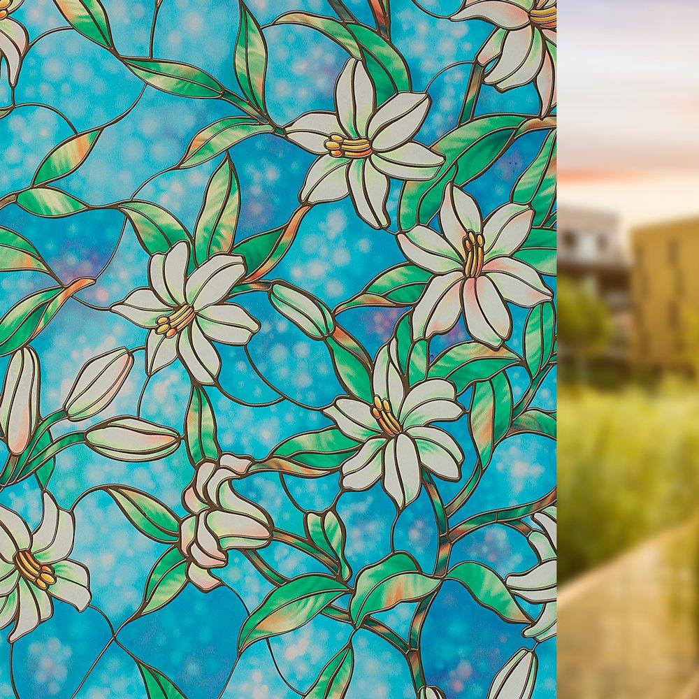 easeonsourceプライバシーウィンドウフィルム、Static Cling装飾ガラスフィルム、非粘着ウィンドウフィルムドアステッカーforホームキッチンバスルームオフィス会議部屋リビングルーム 35.4 x 78.7 inch G015-N90US B07D77WLMP 35.4 x 78.7 inch Colorful-4 Colorful-4 35.4 x 78.7 inch