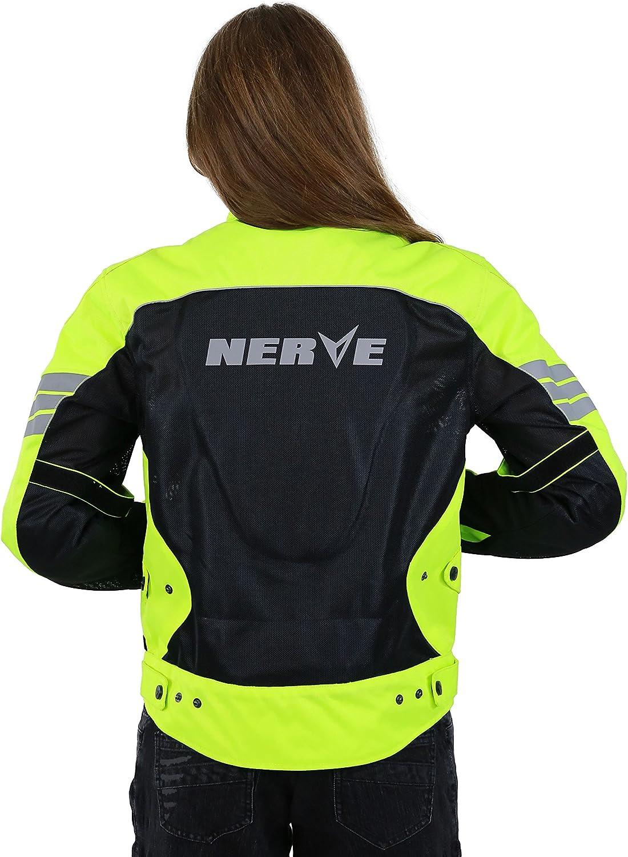 Noir//Vert Fluo M Nerve Go Blouson dEt/é Textile Mesh Moto