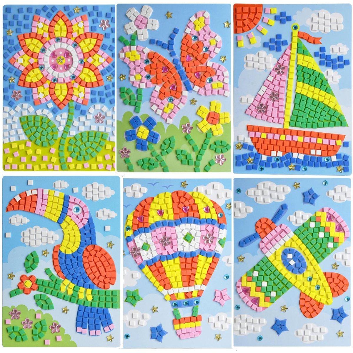 LZHZH Mosaic Sticker Art Kits for Kids Animals Butterfly Sailing Hot Air Balloon Plane Sunflower Sika Deer by LZHZH