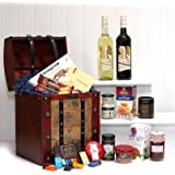 'Cupids Arrow Wine & Nibbles Chest' - Luxury Valentines Hamper in Wooden Replica Vintage Chest with 2 Bottles of Broadleaf Red Wine by Fine Food Store - Gift ideas for - Valentines,Presents,Birthday,Men,Him,Dad,Her,Mum,Thank you,Wedding Anniversary,Engagement,18th,21st,30th,40th,50th,60th,70th,80th,90th