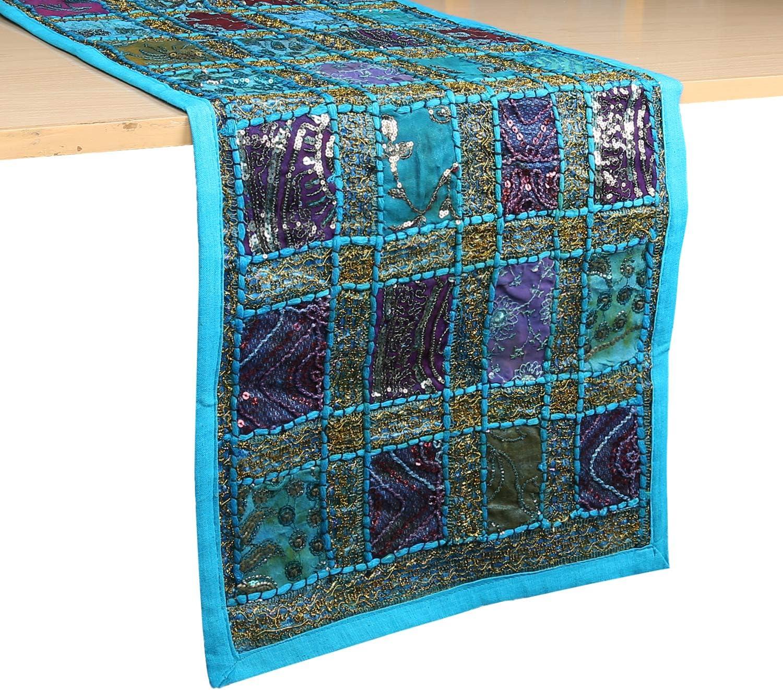 decorativo 30,5 x 183 cm decoraci/ón hippie Camino de mesa de caf/é de estilo vintage lujoso y bordado a mano color rojo RajRANG Trae a You algod/ón dise/ño de retazos de Rajasthani
