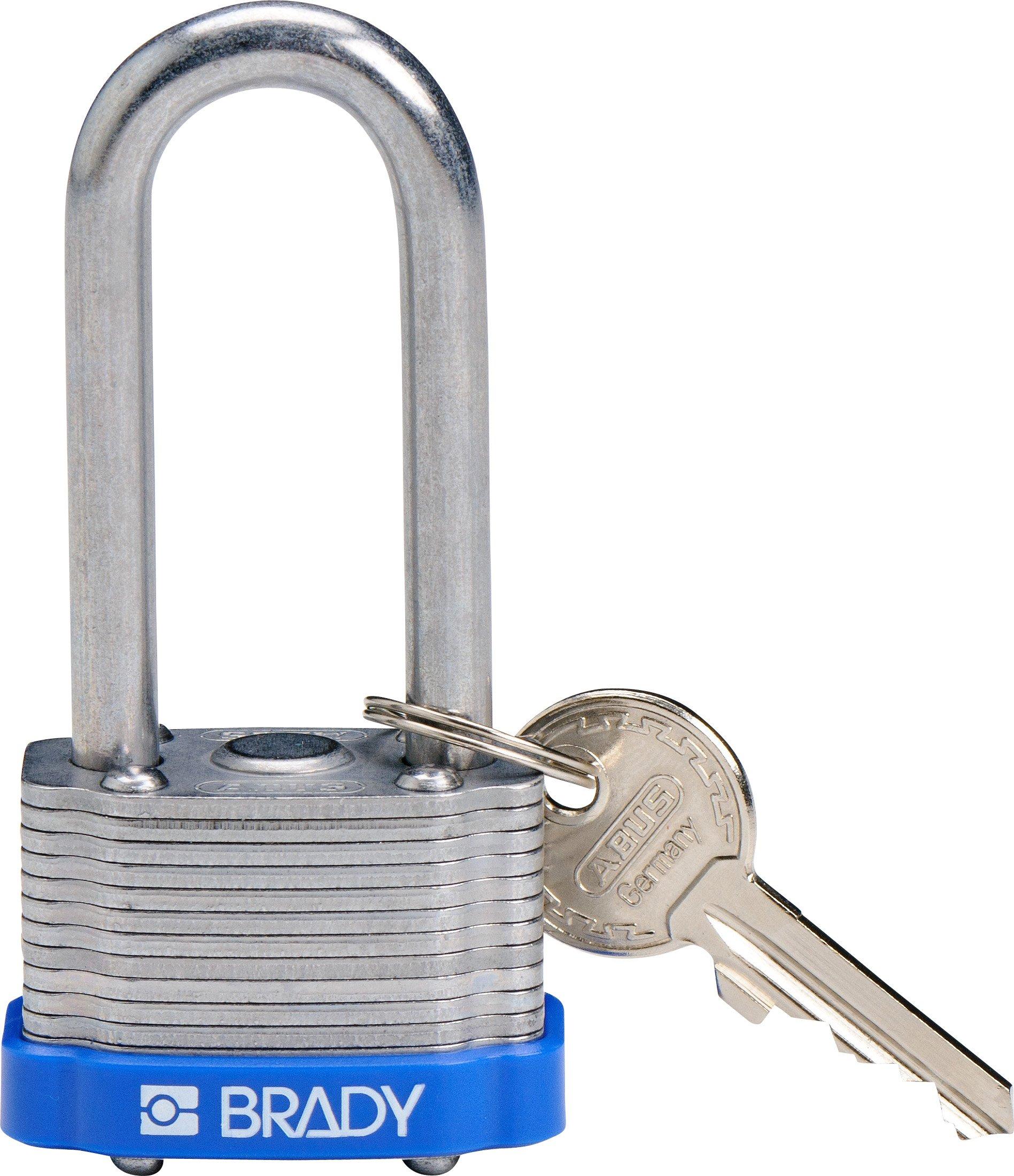 Brady 118973 Blue, Key Retaining Steel PadLock - 2'' Shackle - Keyed Alike (3 Locks)
