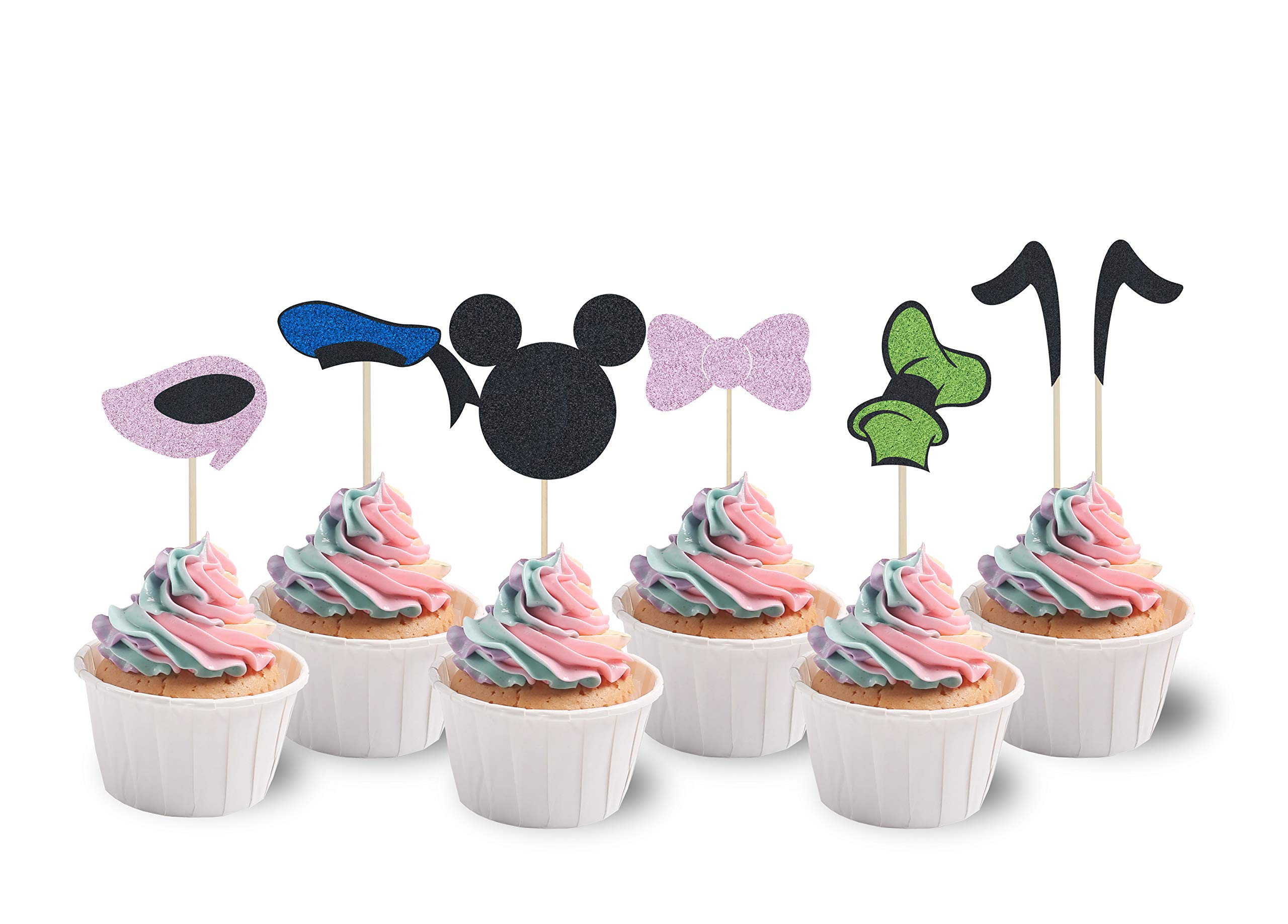KAPOKKU Mickey Inspired Cupcake Toppers Kids Birthday Party Cake Decoration Supplies Baby Shower Parties(Set of 24) (mickey cupcake topper)