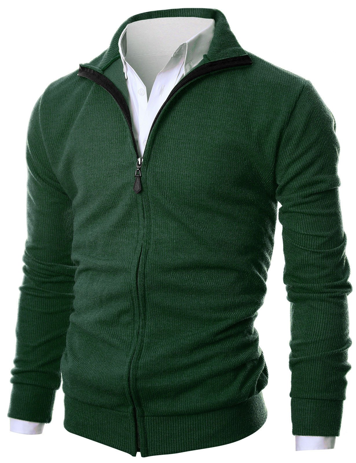 GIVON Mens Slim Fit Light Weight Full Zip Up Cardigan With Inside Soft Fabric/DCP047-DEEPGREEN-M