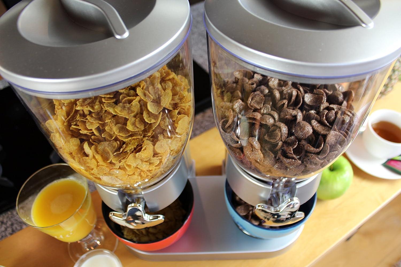 /Dispensador//muesli y Cereales Dispensador//Corn Flak dispensador//Doble de dispensador para Cereales Corn Flakes y Cereales/ United Entertainment/ /Plata