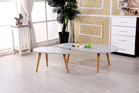 Charmant Container Furniture Direct Sara Collection Modern Retro Two Piece Coffee  Table Set With Small And Large