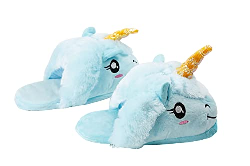 f4dd0ee44b9 Hstyle Warm Unicorn Slippers for Men Women Indoor Shoes Couples House  Slippers Blue