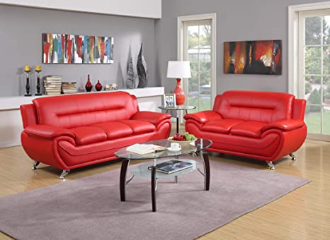 GTU Furniture Contemporary Bonded Leather Sofa & Loveseat Set, 2 Piece Sofa  Set (RED)