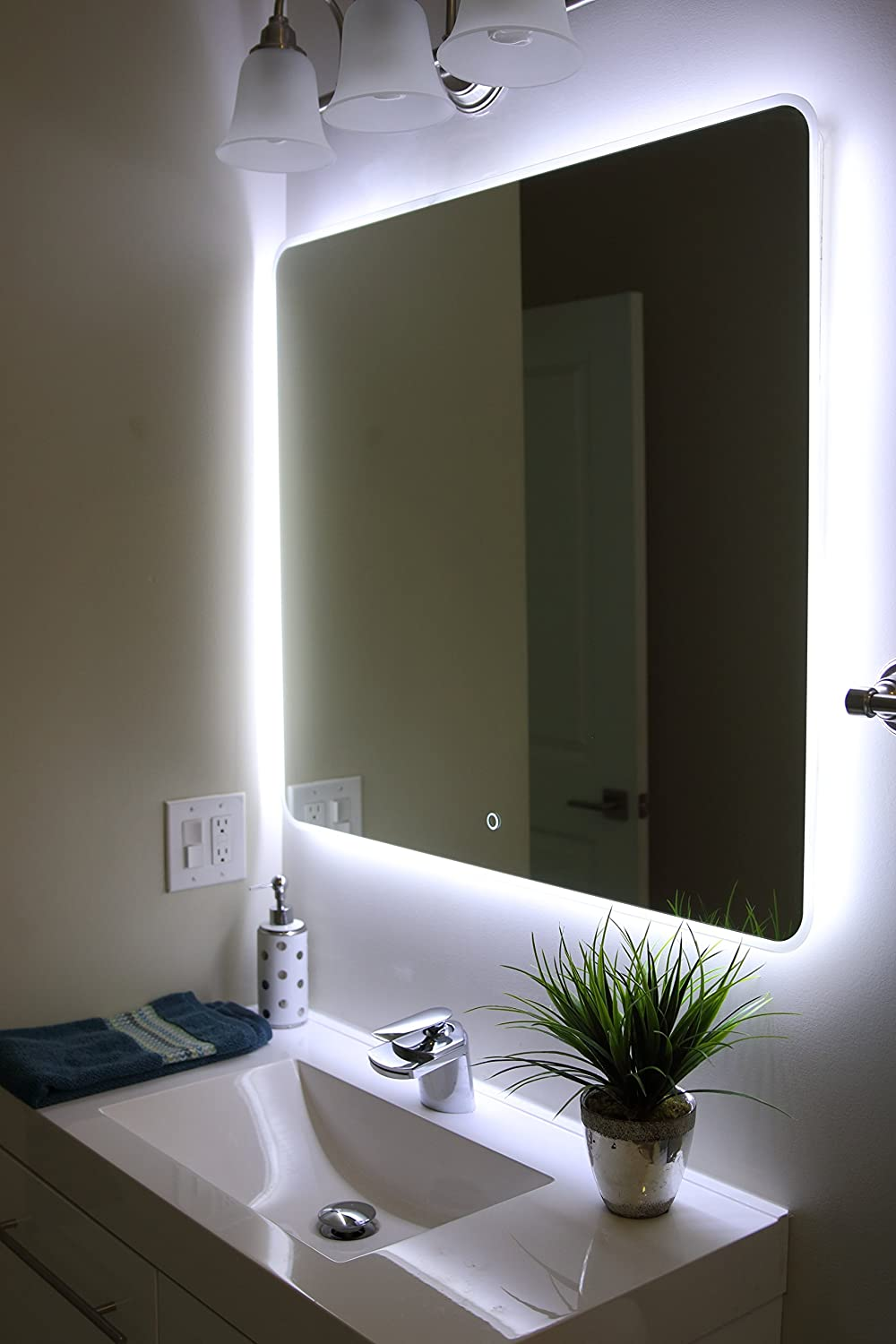 amazoncom windbay backlit led light bathroom vanity sink mirrorilluminated mirror () home  kitchen. amazoncom windbay backlit led light bathroom vanity sink mirror