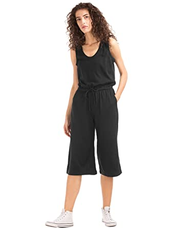 6155d1efd1 GAP Women s Softspun Knit Wide-Leg Jumpsuit (52487620000 True Black XXS-SHR)
