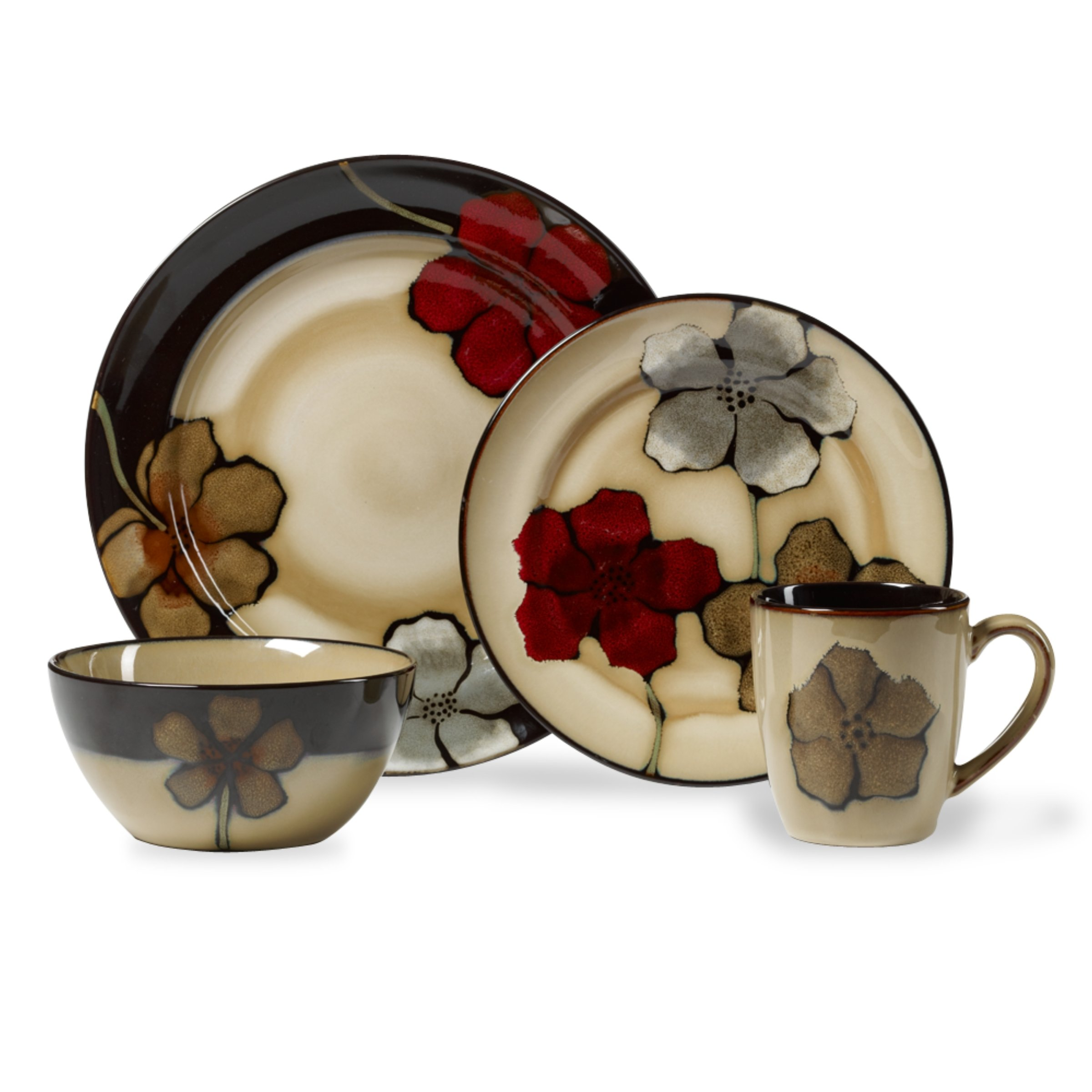 Pfaltzgraff Painted Poppies 16-Piece Stoneware Dinnerware Set, Service for 4