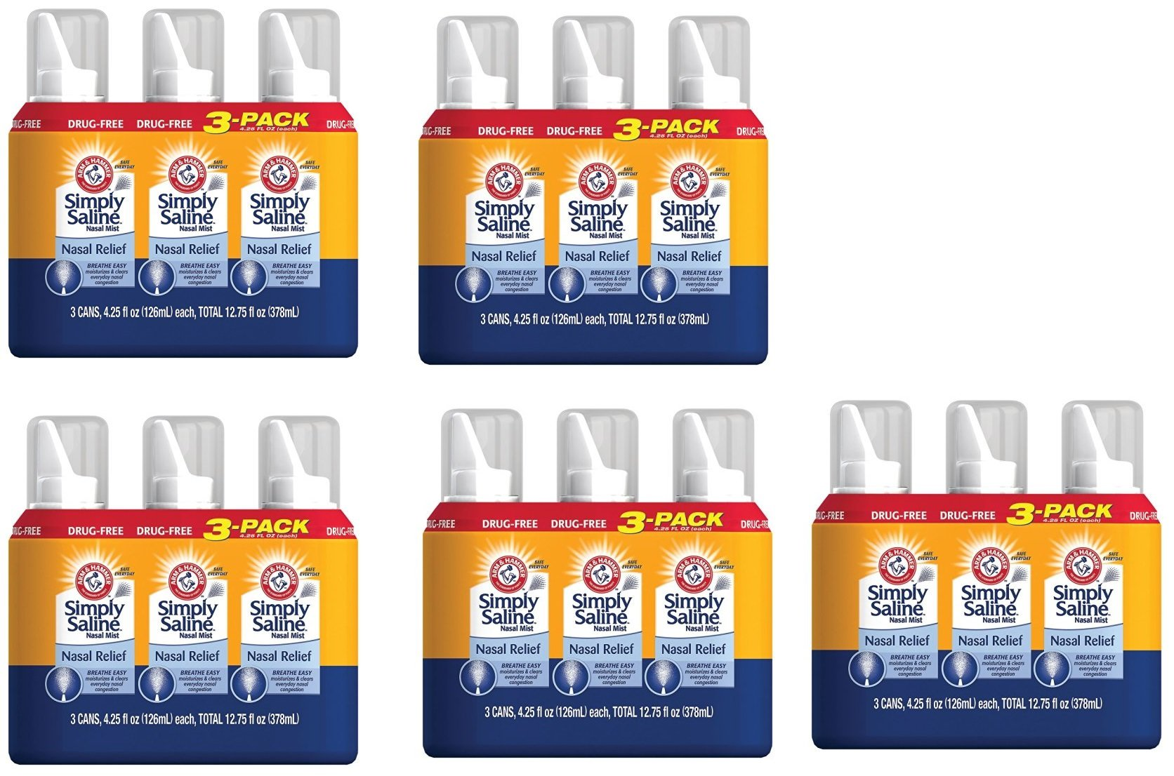 Arm & Hammer ylZcOX Simply Saline Nasal Relief, 4.25 oz, 15 Pack by Arm & Hammer