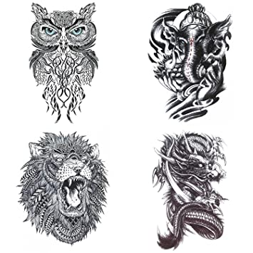 Cokohappy Large Animal Temporary Tattoo 4 Different Sheets Lion