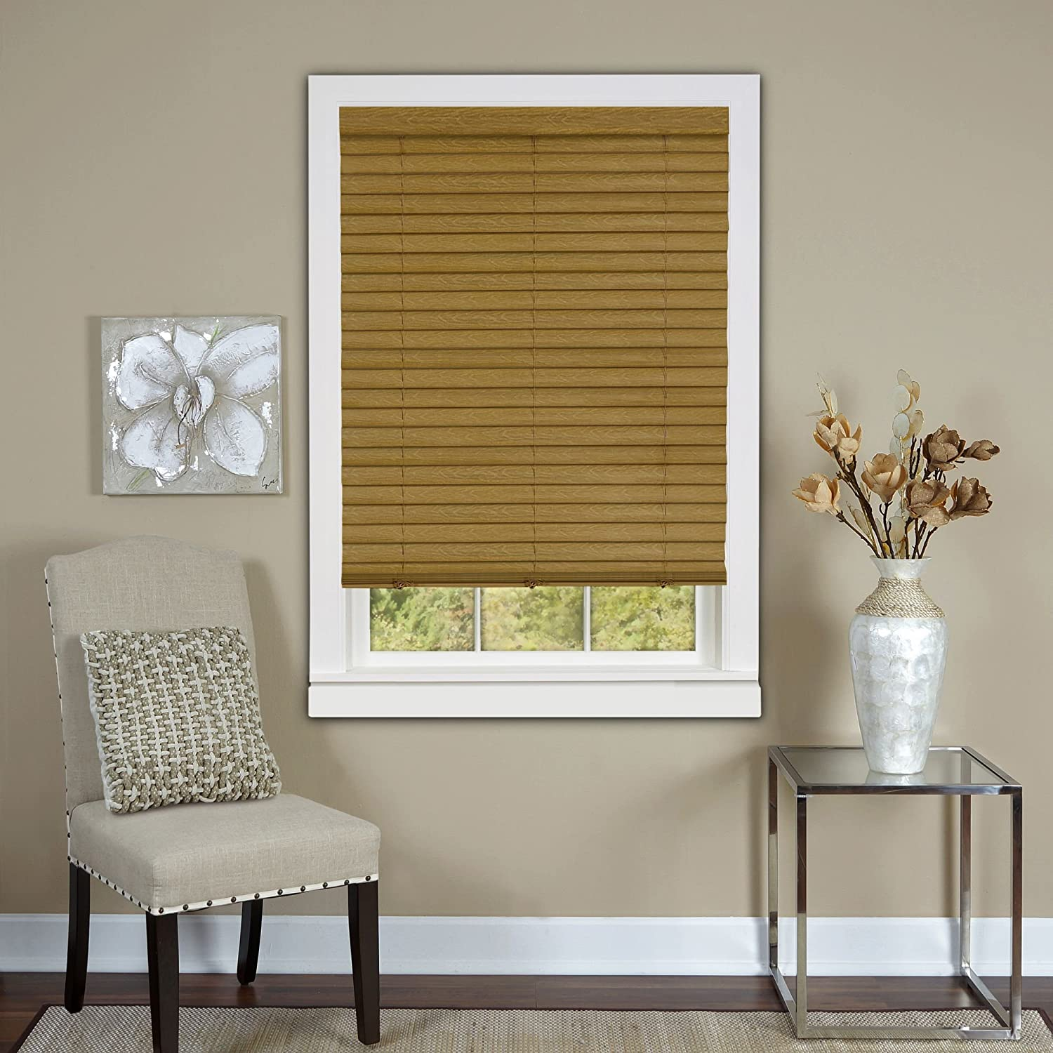 inch bali gallery blindsbali menards mounted wall faux blinds bathroom window wood white walmart cordless