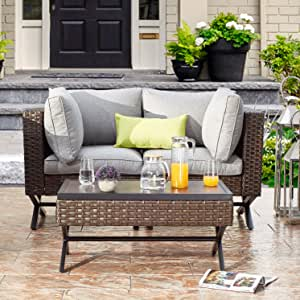 PatioFestival Patio Loveseat 2-Person Cushioned Outdoor Bench with 5.1 Inch Thickness Cushion Coffee Table All Weather Steel Frame