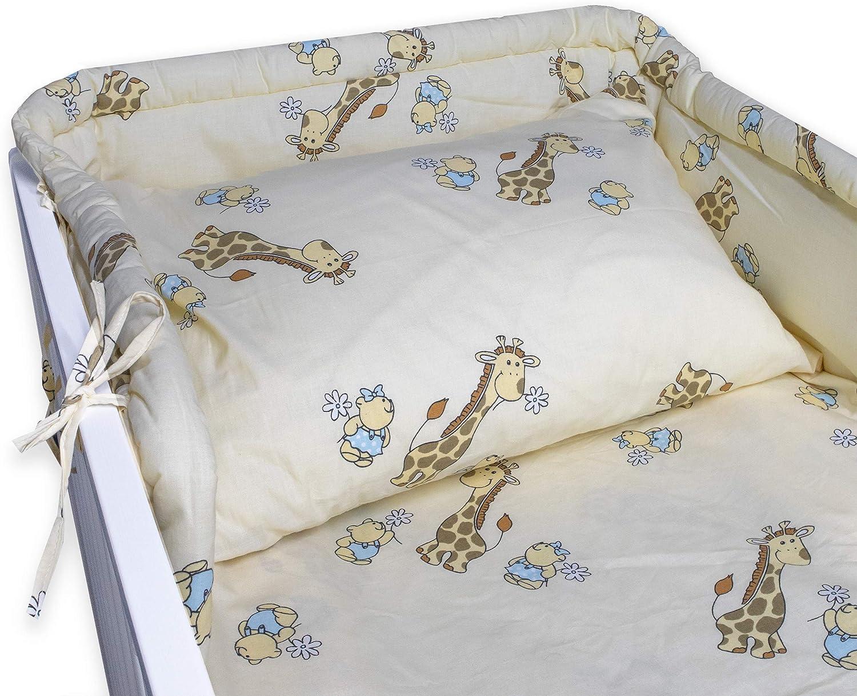 Housse couverture 90 x 120 cm Tour de lit 35 x 150 cm Pour 0-3 ans Housse coussin 40 x 60 cm BlueberryShop Literie b/éb/é coton Bleu Mouton