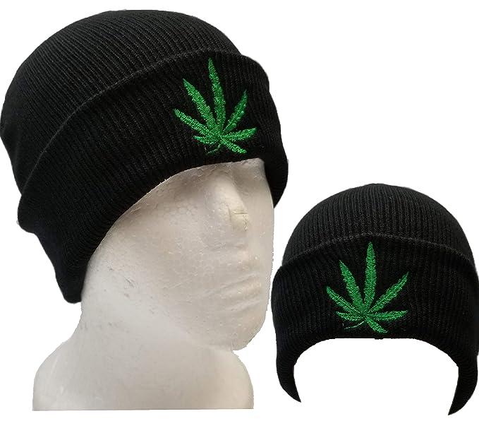 Cuff Black Marijuana Weeds Leaf Knit Beanie Skull Cap Kush Beanie ... 62887cda831
