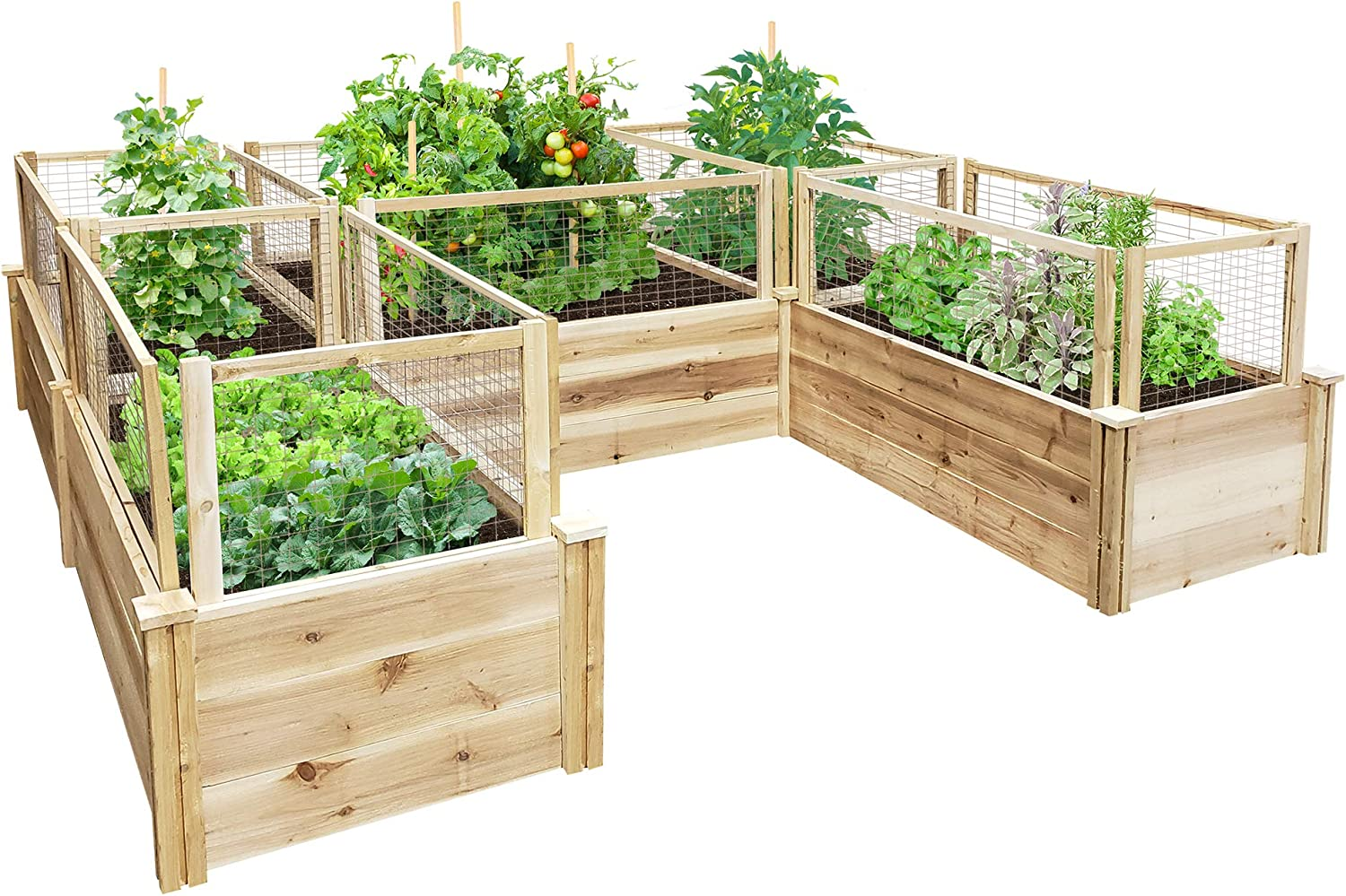 Greenes Fence Premium Cedar Raised Garden Bed U-Shaped Bed