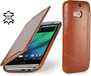 StilGut Book Type, housse en cuir pour HTC One M8 & HTC One M8s, en cognac