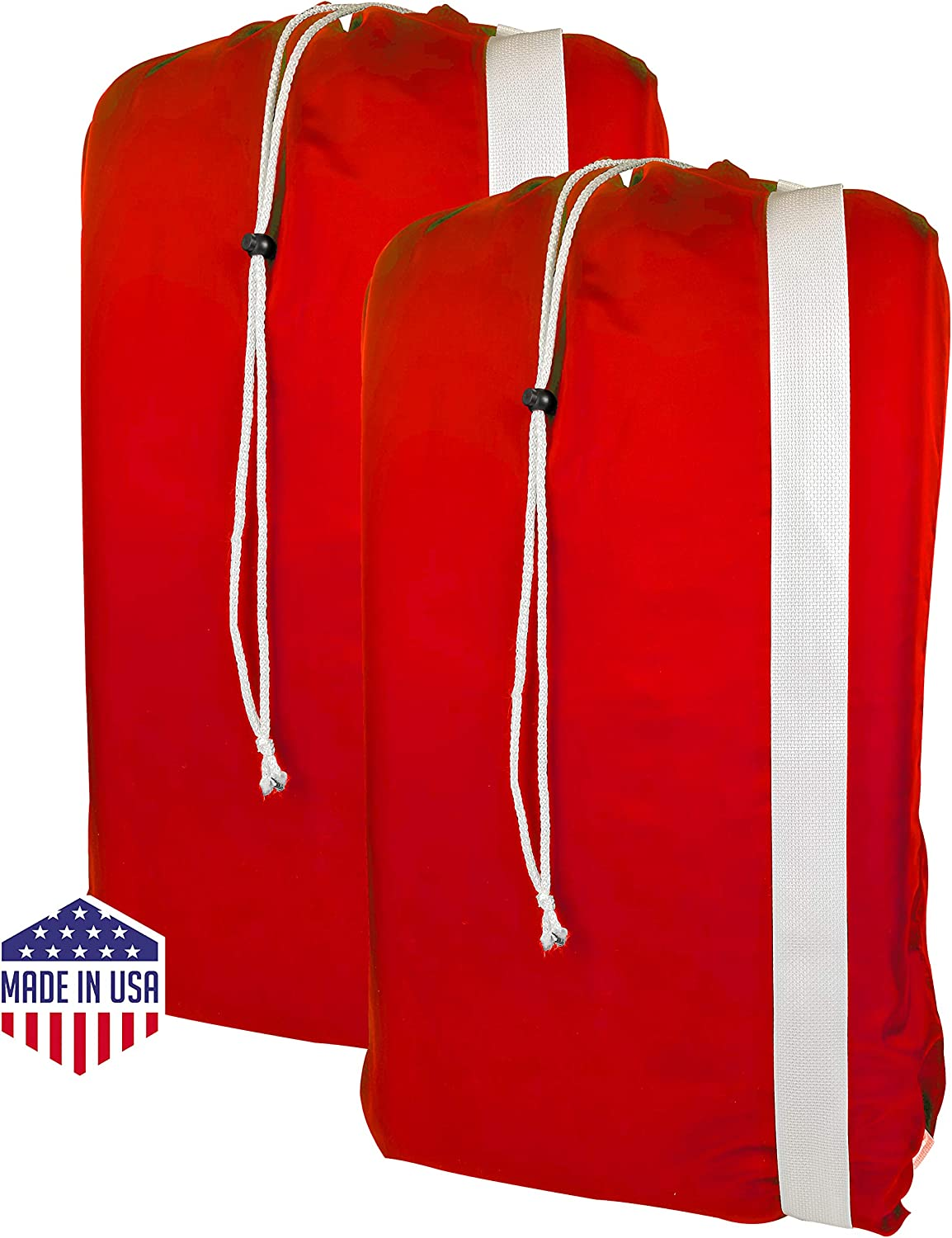 "B&C Nylon Laundry Bag with Shoulder Strap - 30"" X 40"" - 100% Nylon, for Heavy Duty Use, College Laundry Bags, Laundromat and Household Storage, Machine Washable - Made in The USA (Red Pack of 2)"