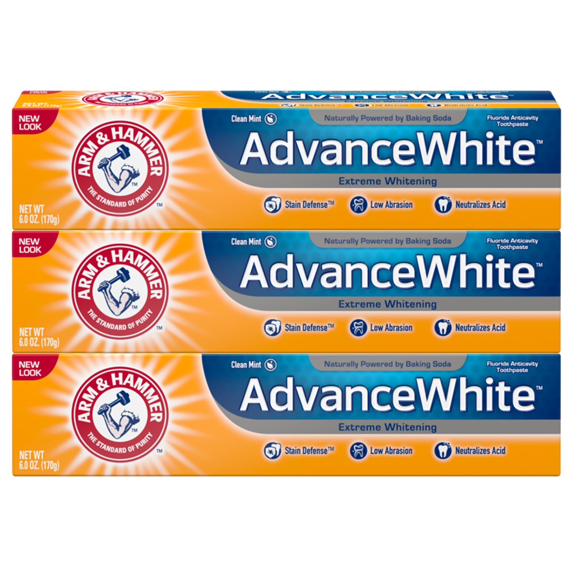 Arm & Hammer Advance White Extreme Whitening Toothpaste, 6 oz, 3 Count (Packaging May Vary)