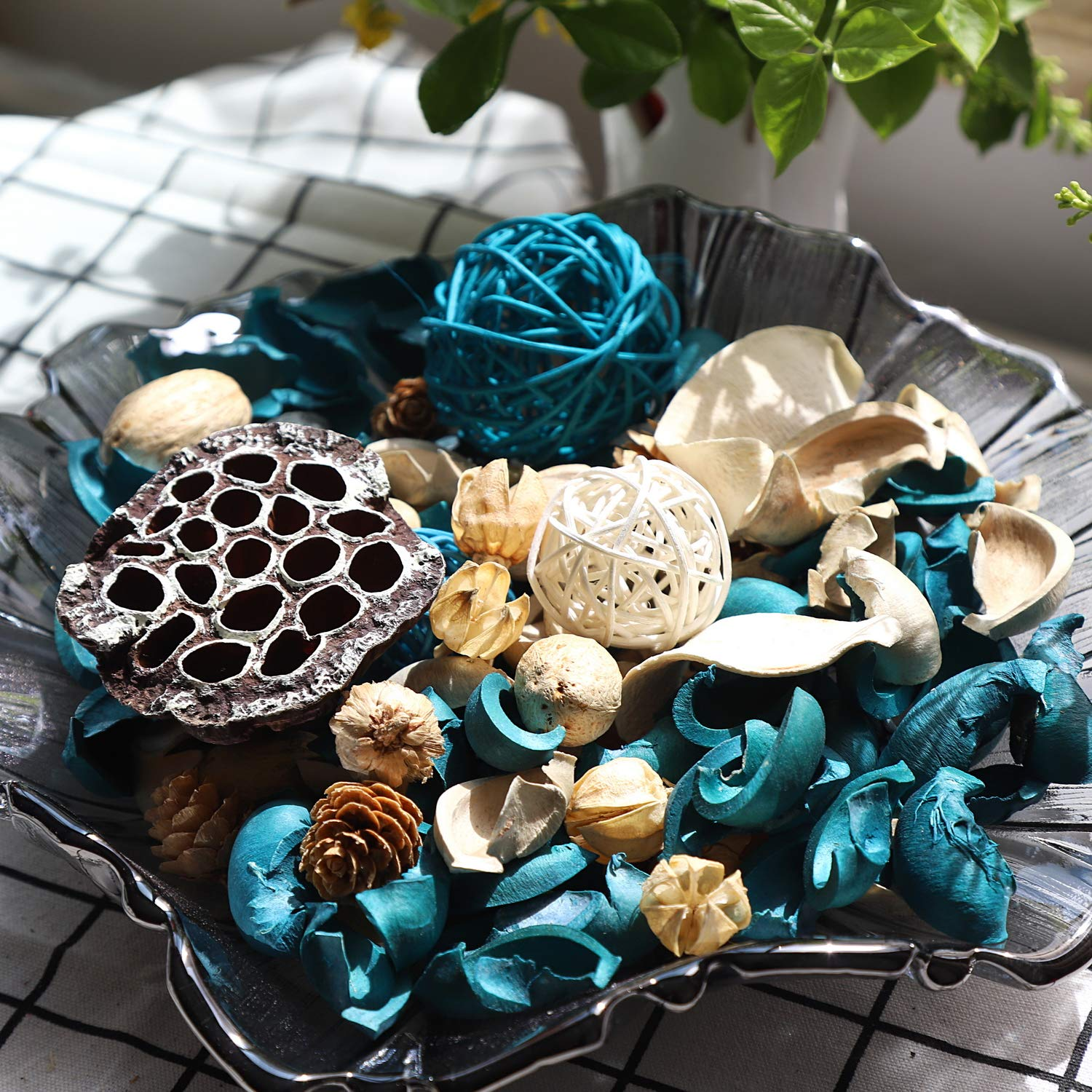 Qingbei Rina Ocean Scent Summer Potpourri Bag Decorative Perfume Sachet, Rattan Balls Lotus Pods Pine Cones Dried Flowers and Plants, 9.9 Ounce Turquoise Blue by Qingbei Rina (Image #4)