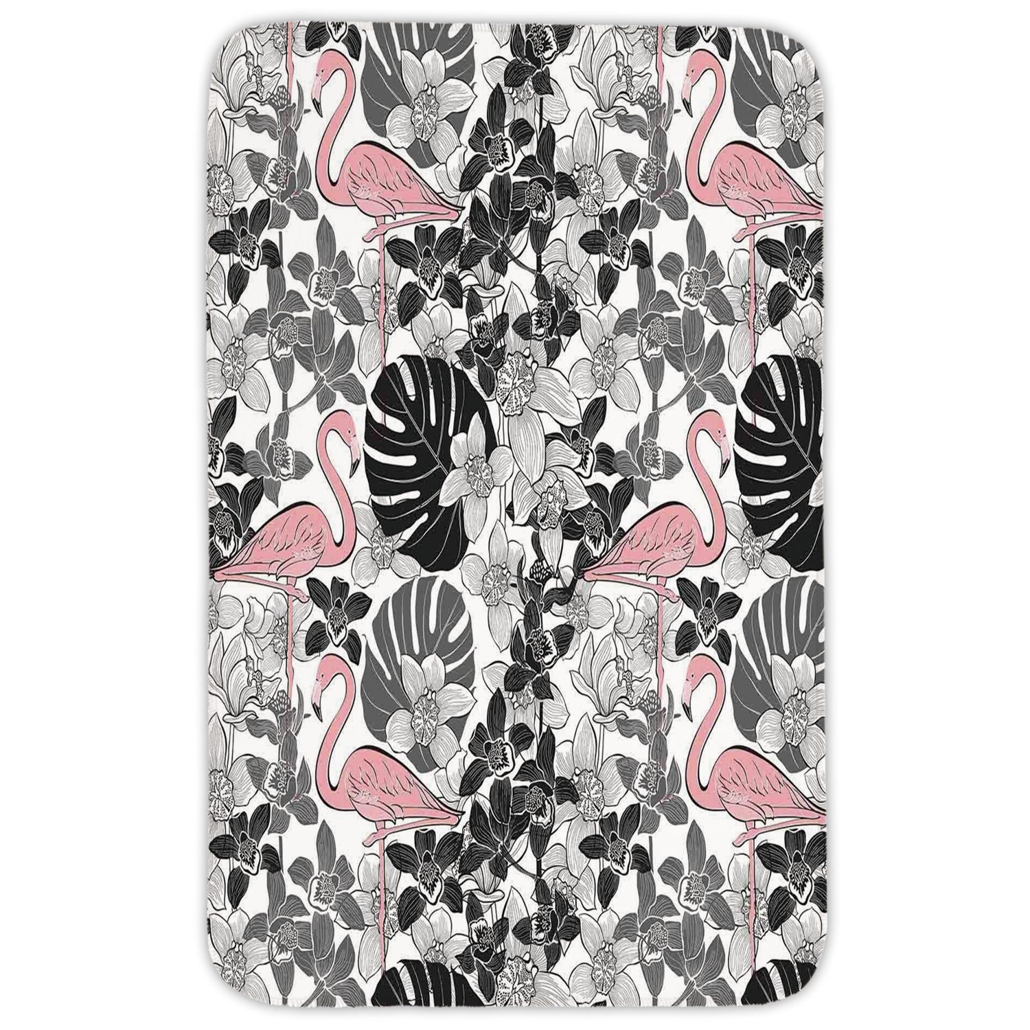 Rectangular Area Rug Mat Rug,Flamingo,Flamingos Pattern Leaves and Flowers Tropical Plants on Background,Black Grey Light Pink,Home Decor Mat with Non Slip Backing
