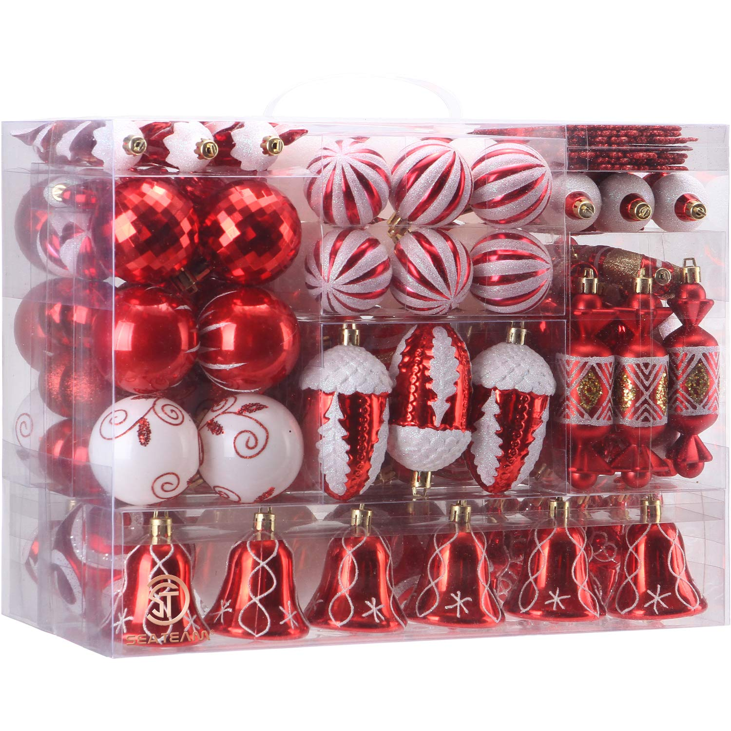 Sea Team 155-Pack Assorted Shatterproof Christmas Ball Ornaments Set Decorative Baubles Pendants with Reusable Hand-held Gift Package for Xmas Tree (Red)