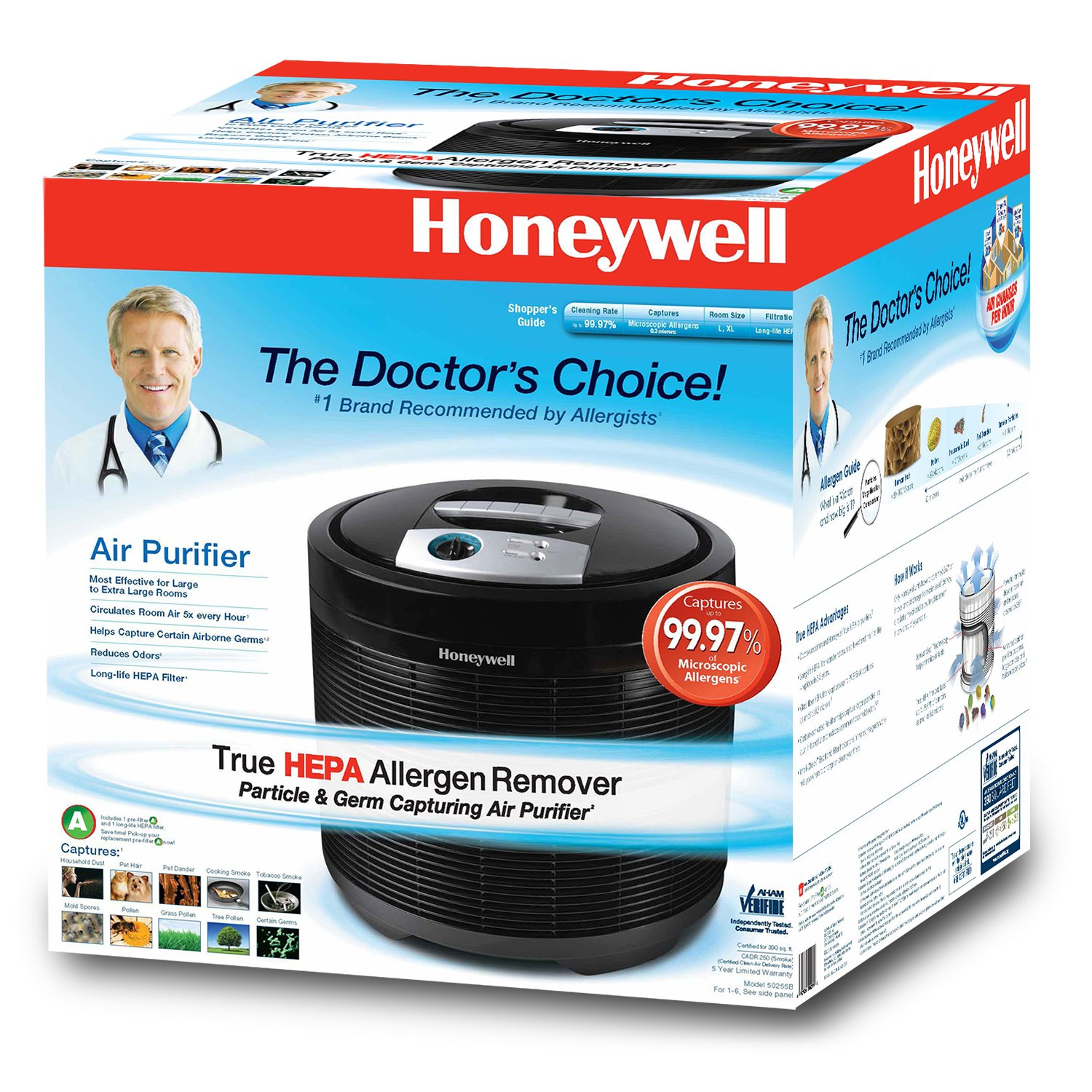 amazoncom honeywell 50255b true hepa allergen remover air purifier black home u0026 kitchen - Honeywell Hepa Air Purifier