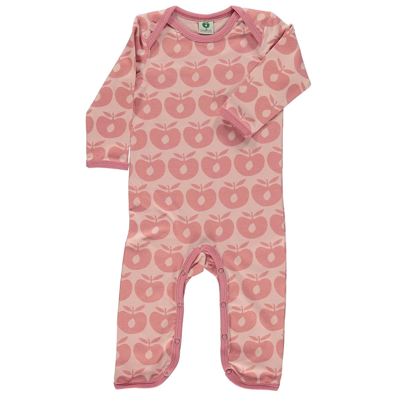 Smafolk Mädchen Babysuit Overall Schlafanzug mit Äpfel Pink Bio-Baumwolle Öko-Tex Standard