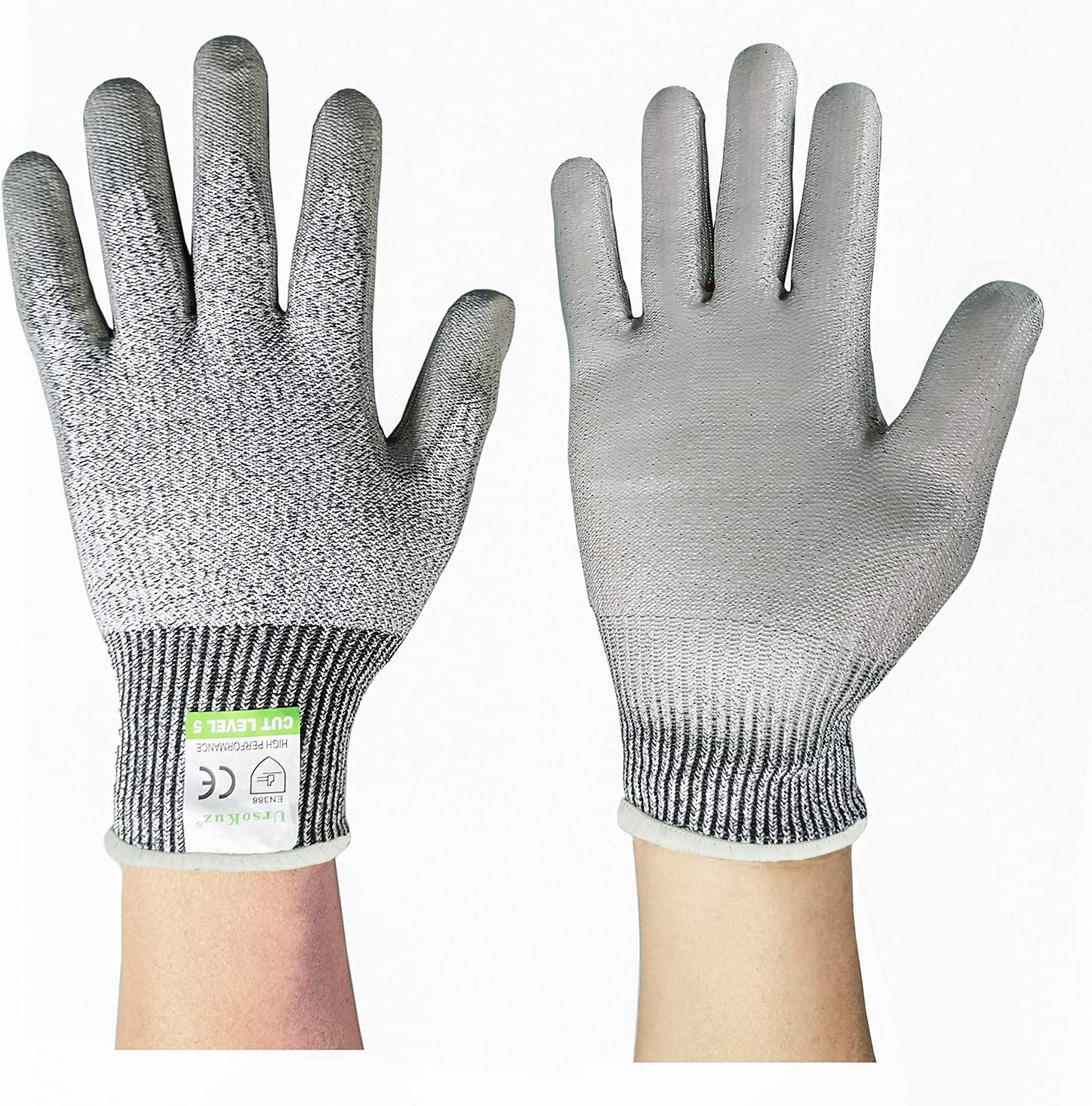 Size 8//M, Grey, SK2131 Vgo 5 Pairs Cut Resistant Gloves High Performance Level 5 Protection EN388 Certified Hand Protection Gloves