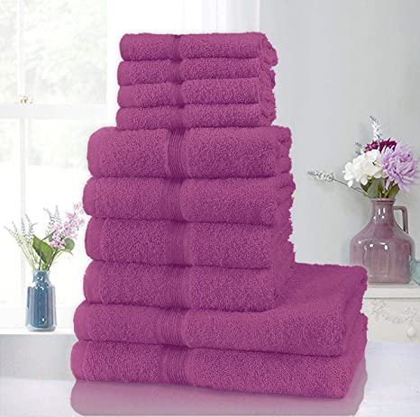 Juego de toallas de algodón puro Clicktostyle (4 toallas de cara, 4 toallas de