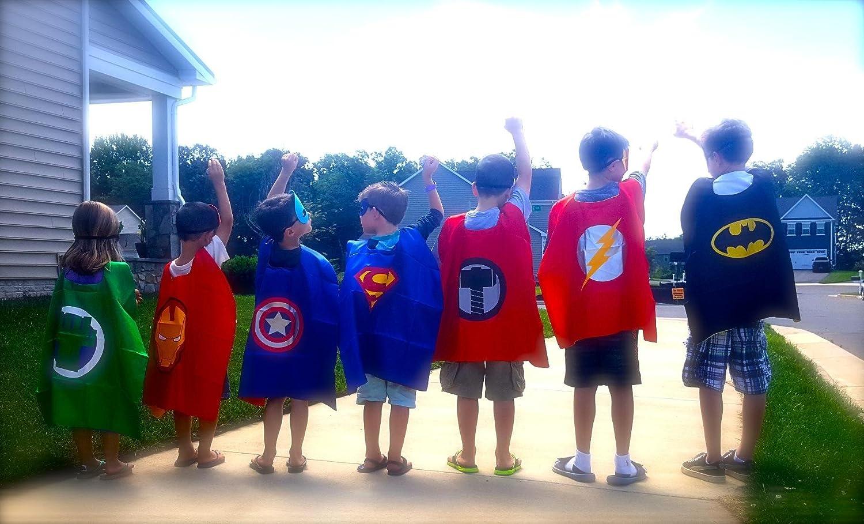 3KINGS Comics Cartoon Dress Up Costumes 4Pcs Capes and Masks Superhero Capes for Kids