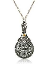 1928 Jewelry Womens Pewter Mirror with Sliding Filigree Cover Necklace Pendant Enhancer, 30