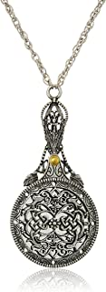 product image for 1928 Jewelry Womens Pewter Mirror with Sliding Filigree Cover Necklace Pendant Enhancer, 30