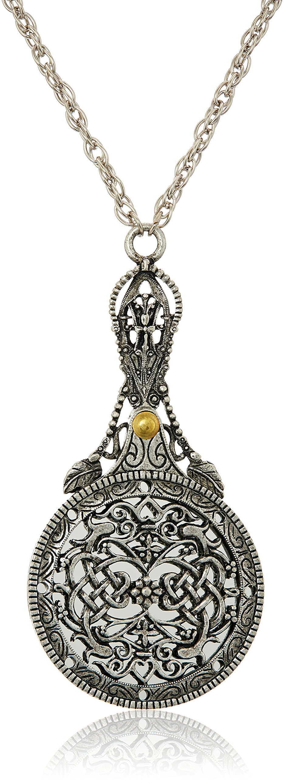 1928 Jewelry Womens Pewter Mirror with Sliding Filigree Cover Necklace Pendant Enhancer, 30 by 1928 Jewelry