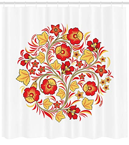 Lunarable Yellow And Red Shower Curtain Floral Bouquet Wedding Inspired Complexity Arising From Simplicity