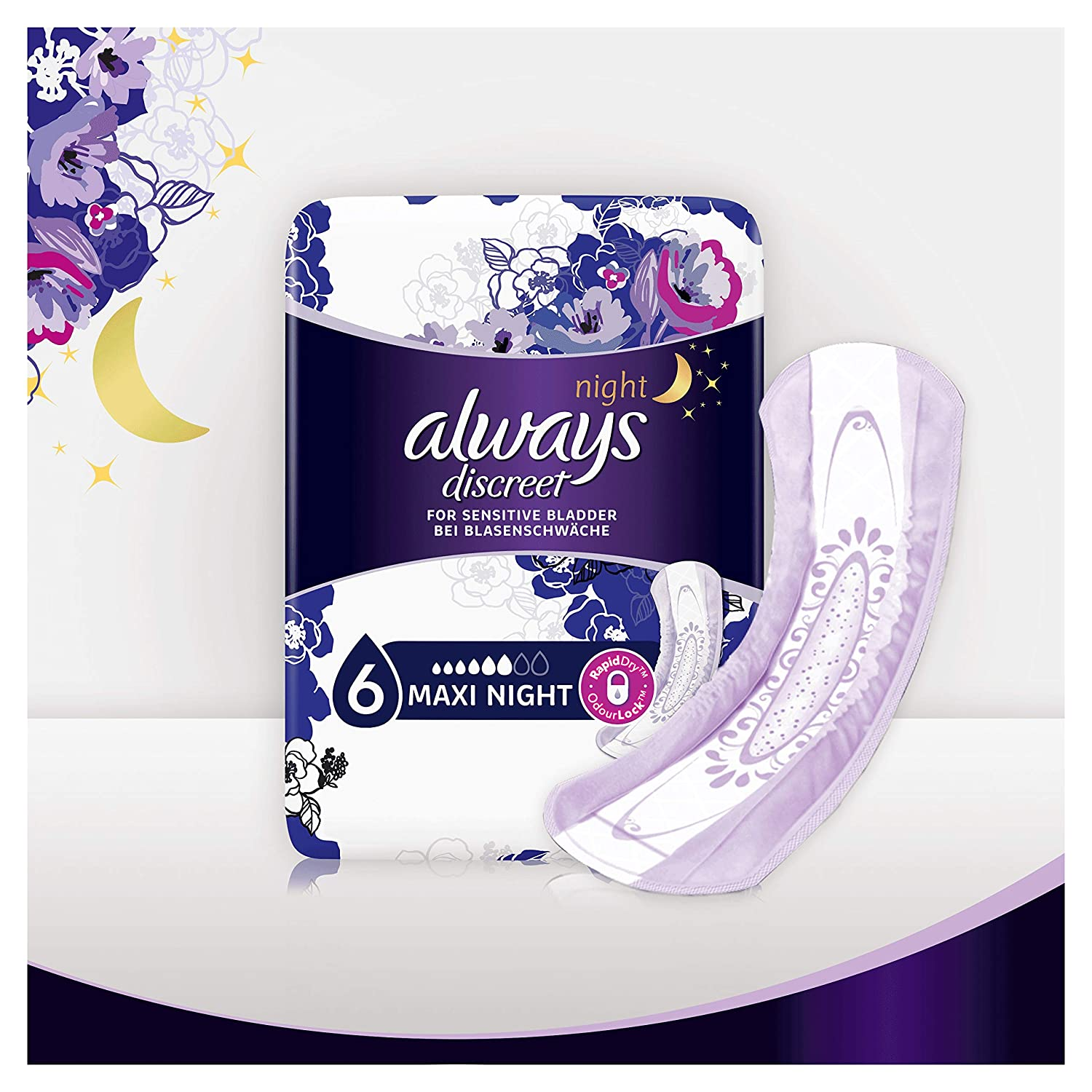 4 Drops Absorbency Long Pads Pads+ 4 Packs of 20 Count Total 80 Always Discreet Incontinence for Sensitive Bladder