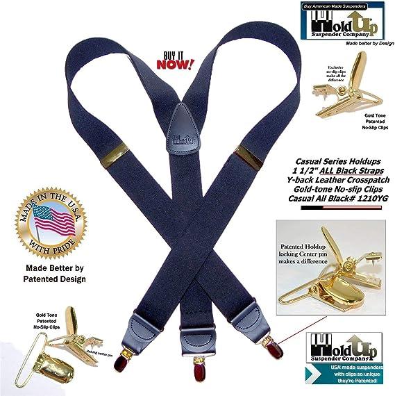 "1.5/"" Y-Back Gold Clip Hold-Up Men/'s Casual Suspenders Elastic Dark Ocean Blue"